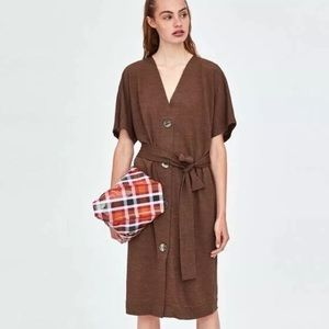Zara Buttoned Brown Dress With Belt Loops M NWT
